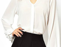 White High Neck Chiffon Blouse With Puff Sleeves Choies.com bester Fashion-Online-Shop Großbritannien Europa