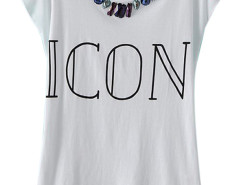 White ICON And Gemstone Short Sleeve T-shirt Choies.com bester Fashion-Online-Shop Großbritannien Europa