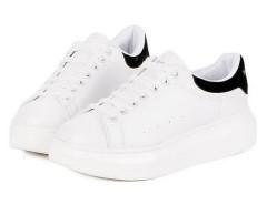 White Lace Up Contrast Branded Platform Trainers Choies.com bester Fashion-Online-Shop Großbritannien Europa