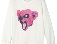White Leopard Head Print Long Sleeve Sweatshirt Choies.com bester Fashion-Online-Shop Großbritannien Europa