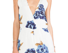 White Plunge Neck Sleeveless Floral Romper Playsuit Choies.com bester Fashion-Online-Shop Großbritannien Europa