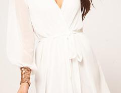 White Sequined Cuff Tie Waist Two-layer Wrap Dress Choies.com bester Fashion-Online-Shop Großbritannien Europa