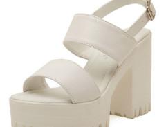 White Strap Buckle Clasp Platform Heeled Sandals Choies.com bester Fashion-Online-Shop Großbritannien Europa