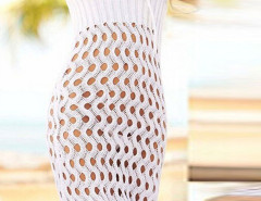 White Strapless Tie Front Holes Detail Beach Dress Choies.com bester Fashion-Online-Shop Großbritannien Europa
