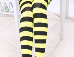 Yellow And Black Stripe Print Over the Knee Socks Choies.com bester Fashion-Online-Shop Großbritannien Europa