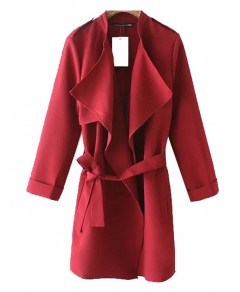 Solid Color Belted Coat Chicnova bester Fashion-Online-Shop aus China