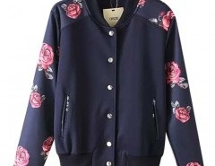 Floral Print Jacket with Ribbed Collar Chicnova bester Fashion-Online-Shop aus China