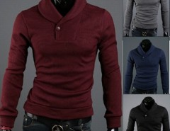 Men's Slim Warm Pullover Lapel Sweater Knit Shirts Cndirect bester Fashion-Online-Shop aus China