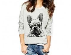 Sweatshirt with Bulldog Print Chicnova bester Fashion-Online-Shop aus China
