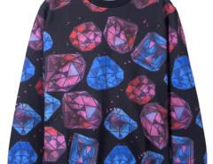 3D Unisex Diamond Print Sweatshirt in Black Choies.com bester Fashion-Online-Shop aus China
