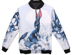 White Unisex Padded Bomber Coat With Abstract Rabbit Print Choies.com bester Fashion-Online-Shop aus China