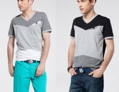 Korea Men Casual Assorted Color Splicing V-neck Short Sleeve T-shirt Top Tee Cndirect bester Fashion-Online-Shop aus China