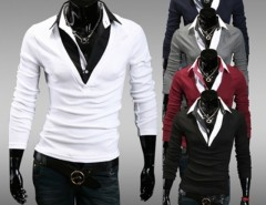 New Fashion Casual Men Long Sleeve Lapel Fake Two Piece T-Shirt 5 Colors Cndirect bester Fashion-Online-Shop aus China