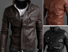 2016 Trends Men's Slim Stylish Synthetic Leather Fit Zip Casual Coat Jackets Cndirect bester Fashion-Online-Shop aus China