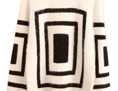 Men's White Geometric Pattern Long Sleeve Sweater Choies.com bester Fashion-Online-Shop aus China