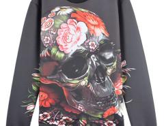 3D Floral Skull Digital Print Unisex Sweatshirt Choies.com bester Fashion-Online-Shop aus China