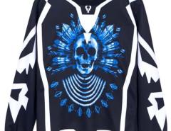 Men's Blue Skull Print Sweatshirt Choies.com bester Fashion-Online-Shop aus China