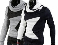 Men Hoodies Style Big Star Pieced Turtleneck Pullover Sweater Cndirect bester Fashion-Online-Shop aus China