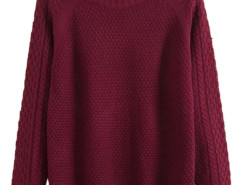Men's Wine Red Textured Knit Sweater Choies.com bester Fashion-Online-Shop aus China