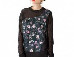 Semi-sheer Sweatshirt with Floral Pattern Chicnova bester Fashion-Online-Shop aus China