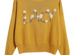 Knit Sweater with Applique Detail Chicnova bester Fashion-Online-Shop aus China
