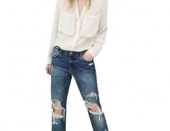 Straight Jeans with Rips Chicnova bester Fashion-Online-Shop aus China