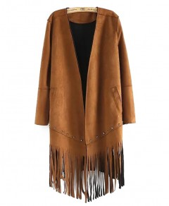 Open Front Coat with Fringed Hem Chicnova bester Fashion-Online-Shop aus China