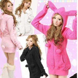 2016 Trends Bunny Ears Warm Sherpa New Cute Women Hoodie Jacket Coat tops Outerwear Hot Cndirect bester Fashion-Online-Shop China