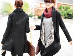 2016 Trends Fashion Korea Grace Women's Woolen Winter Coat Long Cape Clock Jacket Black HD23 Cndirect bester Fashion-Online-Shop China
