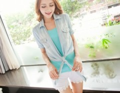 2016 Trends New Korean Women's Top Short Sleeve Knot Denim Coat Mini Top Blue Jeans Cndirect bester Fashion-Online-Shop China