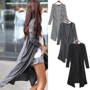 2016 Trends Women's Full Sleeved Cardigan Drape Collar Long Jackets Top Coat Cndirect bester Fashion-Online-Shop China