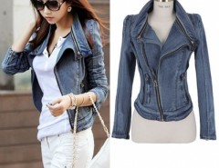2016 Trends Women's Punk Lapel Zipper Denim Jean Coat Blazer Jacket Biker Outerwear Cndirect bester Fashion-Online-Shop China