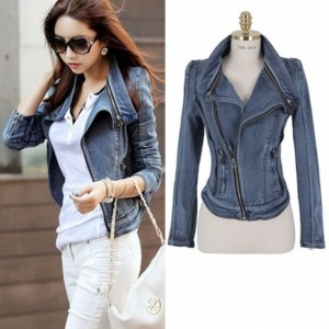 2016 Trends Women's Punk Lapel Zipper Denim Jean Coat Blazer Jacket Biker Outerwear Cndirect bester Fashion-Online-Shop China