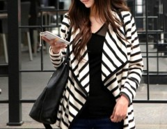 2016 Trends Women's Stripe Cardigan Long Sleeve Cotton Coat Cndirect bester Fashion-Online-Shop China