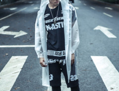 White Unisex Bright Longline Raincoat With Letter Print Choies.com bester Fashion-Online-Shop aus China