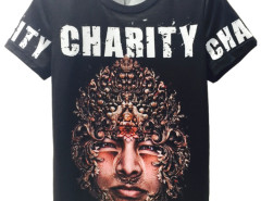 Black 3D Unisex CHARITY And Man Face Print T-shirt Choies.com bester Fashion-Online-Shop aus China