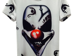 White 3D Unisex Evil Clown Print T-shirt Choies.com bester Fashion-Online-Shop aus China