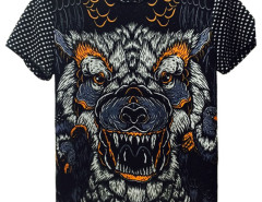 Black 3D Unisex Geometric And Wolf print T-shirt Choies.com bester Fashion-Online-Shop aus China