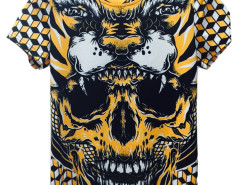 Yellow 3D Unisex Geometric Howling Tiger And Skull Print T-shirt Choies.com bester Fashion-Online-Shop aus China