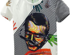 White 3D Unisex Stripe Letter And Man Face T-shirt with Colorful Hand Print Choies.com bester Fashion-Online-Shop aus China