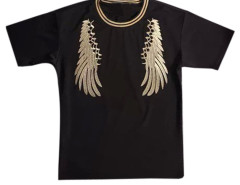 Black Men's Embroidery Wing Short Sleeve T-shirt Choies.com bester Fashion-Online-Shop aus China