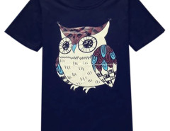 Black Unisex Cute Owl Print Short Sleeve T-shirt Choies.com bester Fashion-Online-Shop aus China