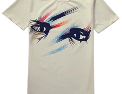 White Unisex Eye Print Short Sleeve T-shirt Choies.com bester Fashion-Online-Shop aus China