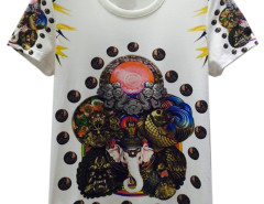 White 3D Unisex Elephant King And Man in Circel Print T-shirt Choies.com bester Fashion-Online-Shop aus China