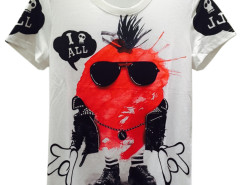 White Unisex Sunglasses Cartoon Skull And Letter Print T-shirt Choies.com bester Fashion-Online-Shop aus China