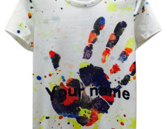 White Splash Hand And Letter Print Short Sleeve T-shirt Choies.com bester Fashion-Online-Shop aus China