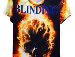 Multicolor BLINDING Burning Skull Print Short Sleeve T-shirt Choies.com bester Fashion-Online-Shop aus China