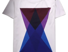Men's White Contrast Geo Print Short Sleeve T-shirt Choies.com bester Fashion-Online-Shop aus China