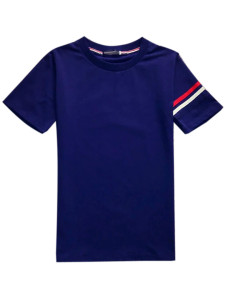 Men's Navy Contrst Stripe Print Short Sleeve T-shirt Choies.com bester Fashion-Online-Shop aus China