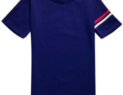 Men's Navy Contrst Stripe Print Short Sleeve T-shirt Choies.com bester Fashion-Online-Shop aus China